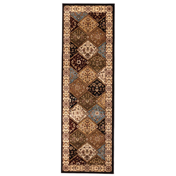 "Liberty Oriental Rugs Brillante Machine Made Ebony Runner Rug (2'3"" x 7'6"")"