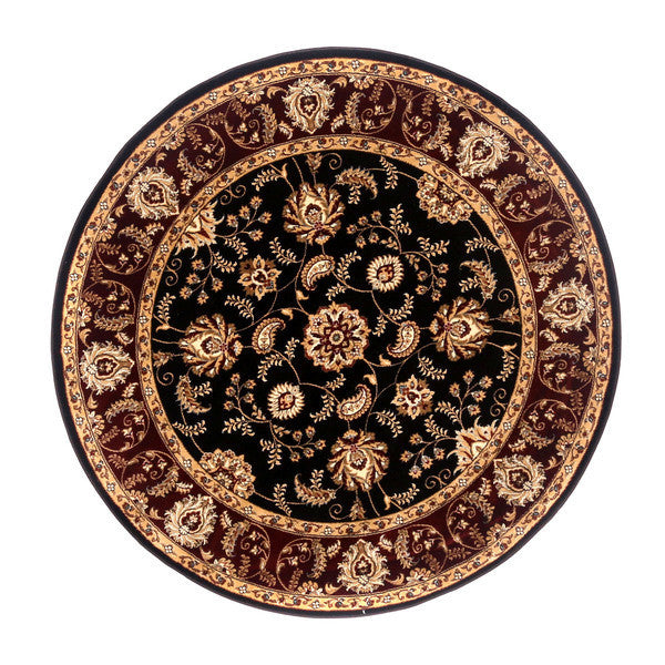 "Liberty Oriental Rugs Brillante Machine Made Ebony Round Rug (5'7"" x 5'7"")"