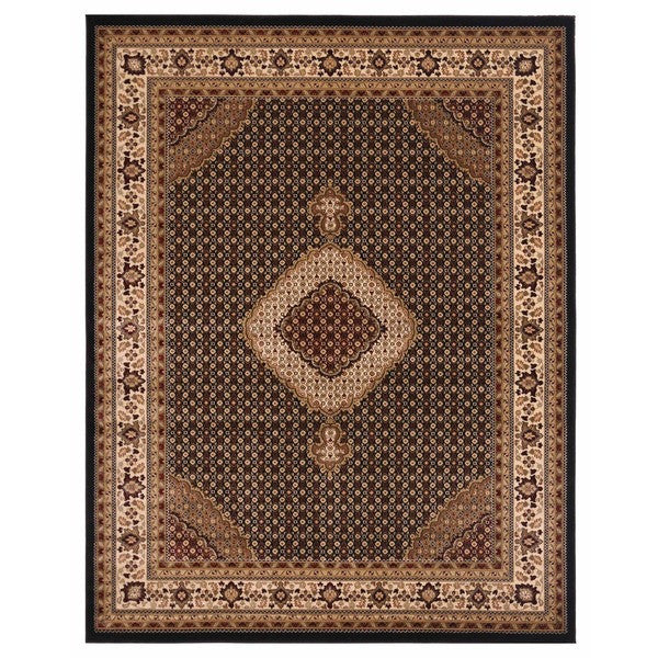 "Liberty Oriental Rugs Brillante Machine Made Ebony Area Rug (8'6"" x 11'6"" Rectangle)"