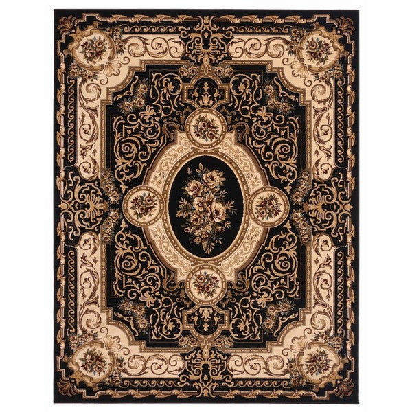 "Liberty Oriental Rugs Brillante Machine Made Ebony Area Rug (7'6"" x 9'10 Rectangle)"