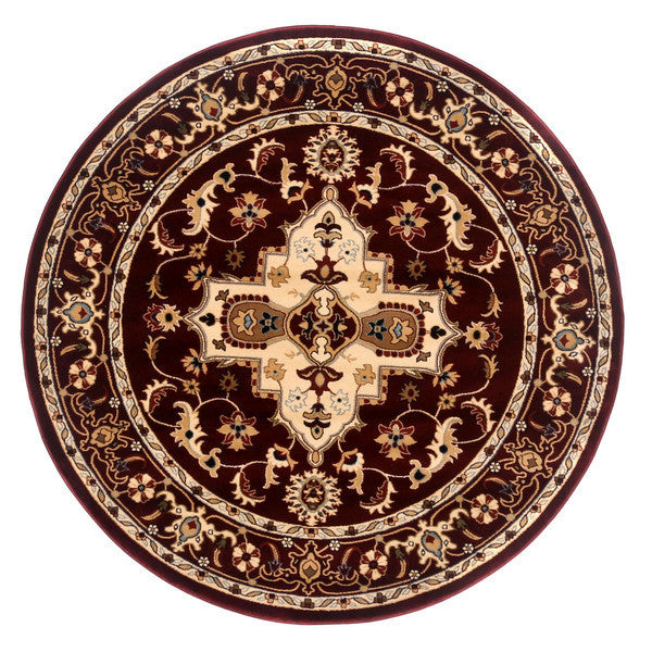"Liberty Oriental Rugs Brillante Machine Made Red Round Rug (5'7"" x 5'7"")"
