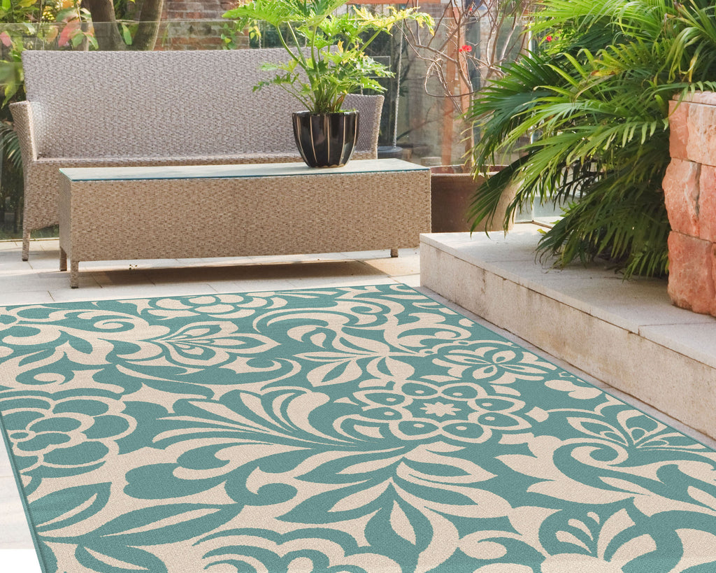 Tayse Rug Garden City 1030 Aqua Area Rug Rug Savings