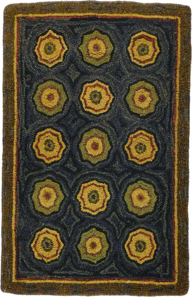 Homespice Decor Hooked Lilly Pad Area Rug