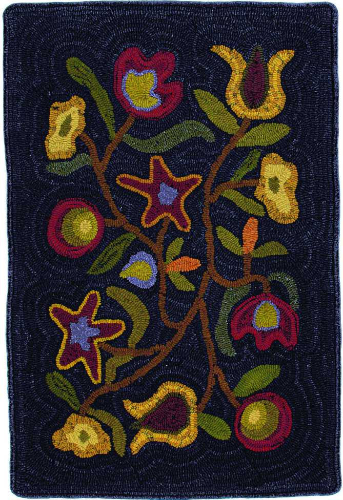 Homespice Decor Hooked Walk In the Flower Area Rug
