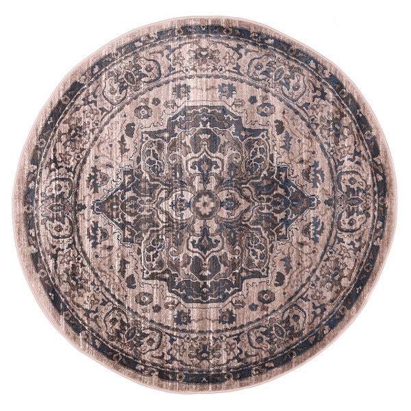 "Liberty Oriental Rugs Island Machine Made Beige Round Rug (5'7"" x 5'7"")"