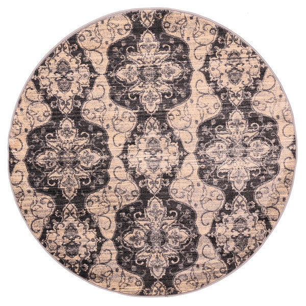 "Liberty Oriental Rugs Island Machine Made Cream Round Rug (5'7"" x 5'7"")"