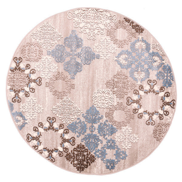 "Liberty Oriental Rugs Island Machine Made L. Beige Round Rug (5'7"" x 5'7"")"