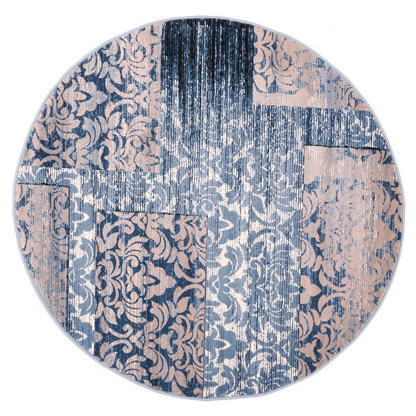 "Liberty Oriental Rugs Island Machine Made L. Blue Round Rug (5'7"" x 5'7"")"
