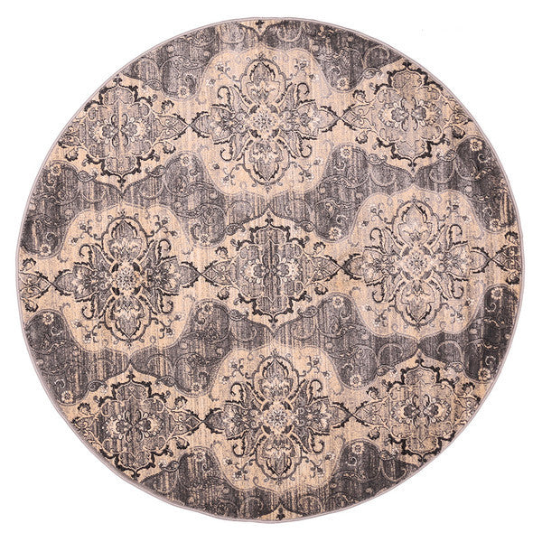"Liberty Oriental Rugs Island Machine Made L. Grey Round Rug (5'7"" x 5'7"")"