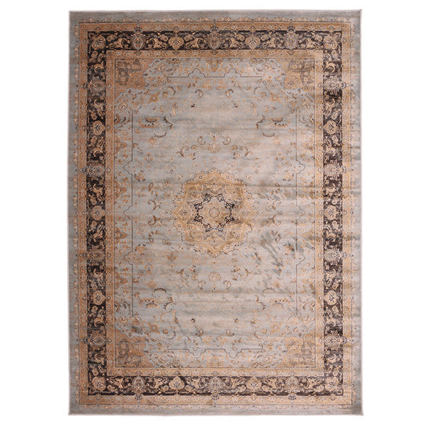 "Liberty Oriental Rugs Jas Machine Made L. Blue Round Rug (5'7"" x 5'7"")"