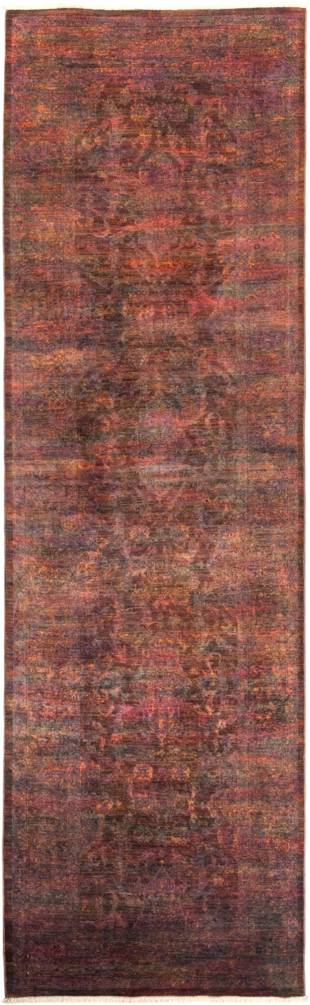 "Vibrance, Brown Wool Runner Rug - 3' 2"" x 10' 8"""