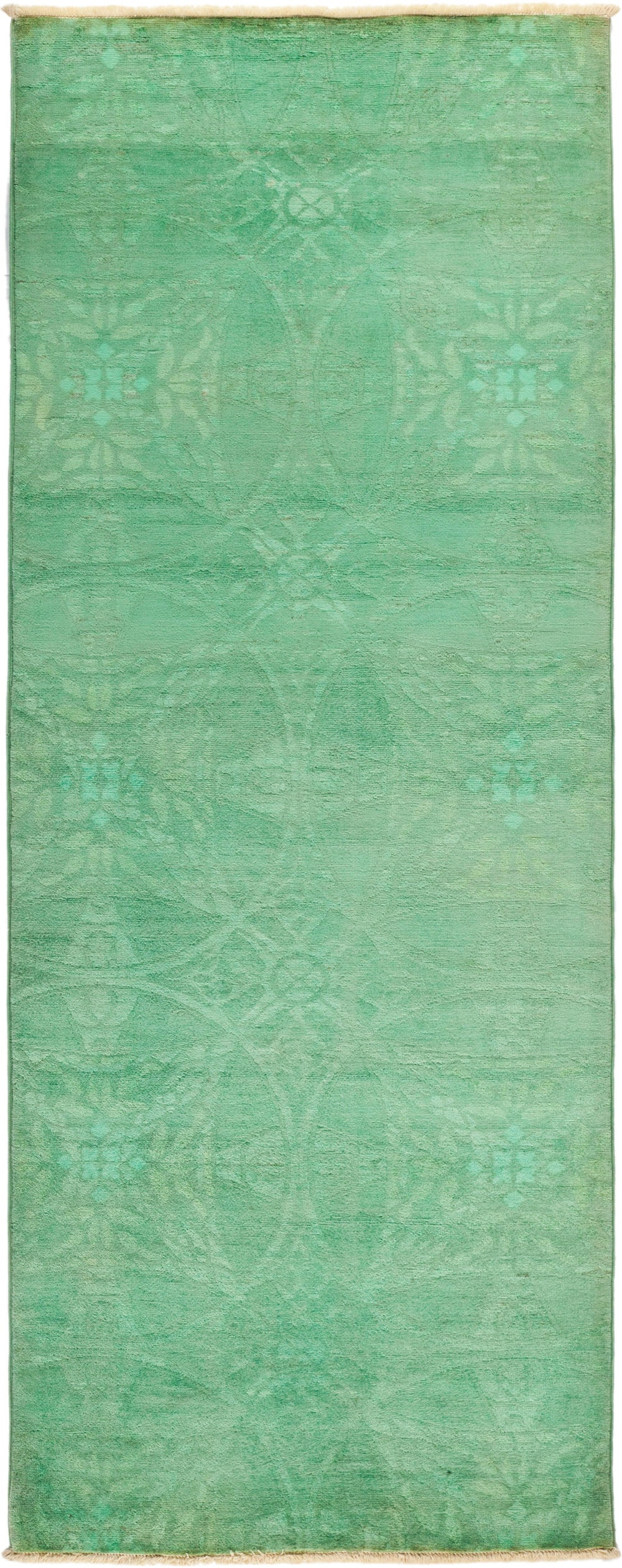 "Vibrance, Green Wool Runner Rug - 3' 1"" x 8' 0"""