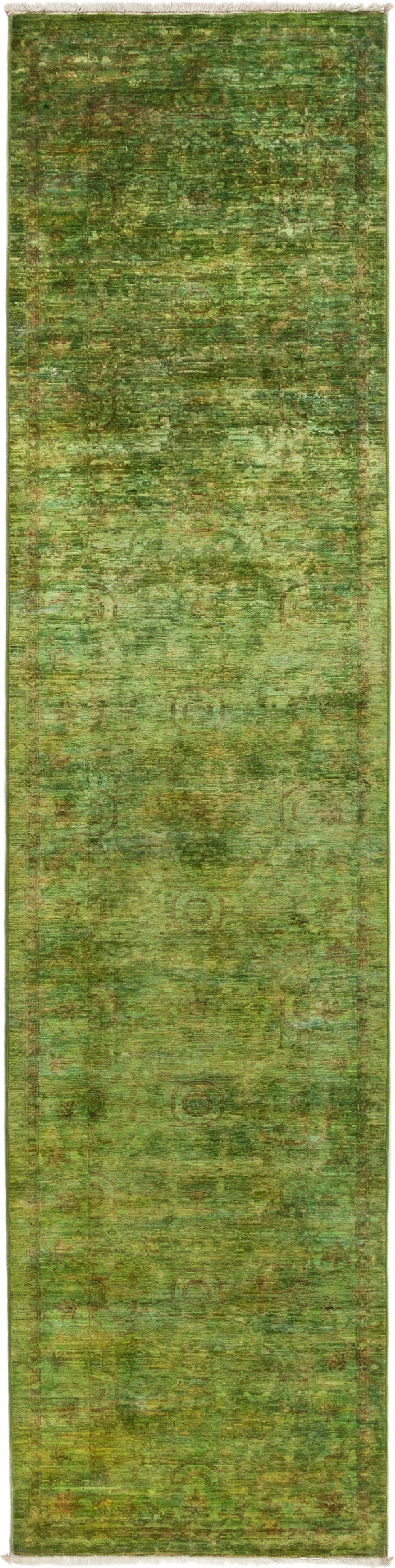 "Vibrance, Green Wool Runner Rug - 2' 5"" x 9' 9"""