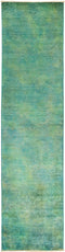 "Vibrance, Green Wool Runner Rug - 2' 6"" x 9' 10"""