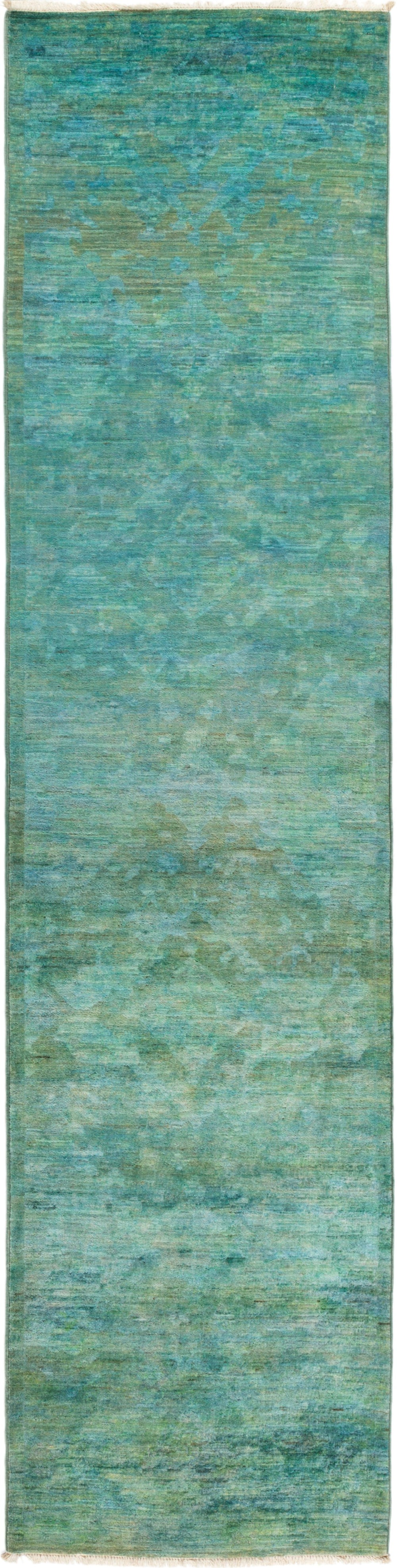 "Vibrance, Green Wool Runner Rug - 2' 7"" x 10' 4"""