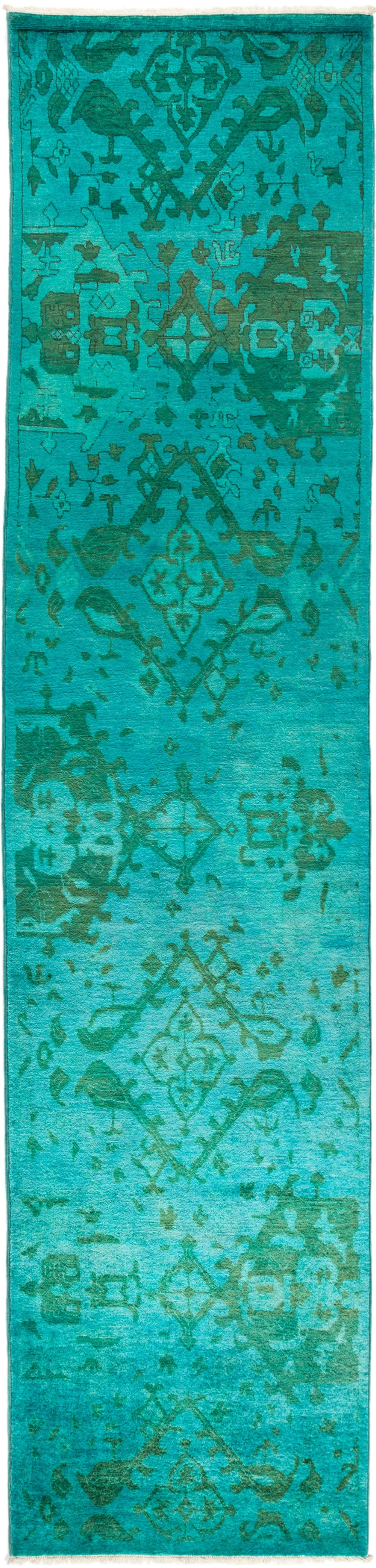 "Vibrance, Green Wool Runner Rug - 2' 8"" x 11' 3"""