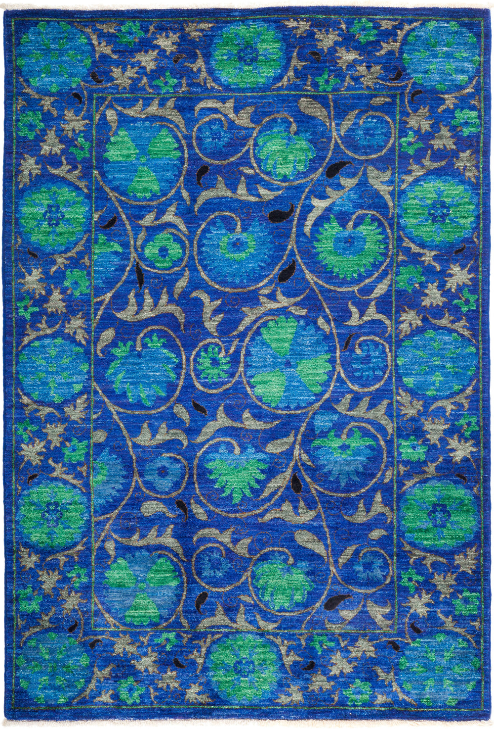 "Suzani, 4x6 Blue Wool Area Rug - 4' 2"" x 6' 1"""