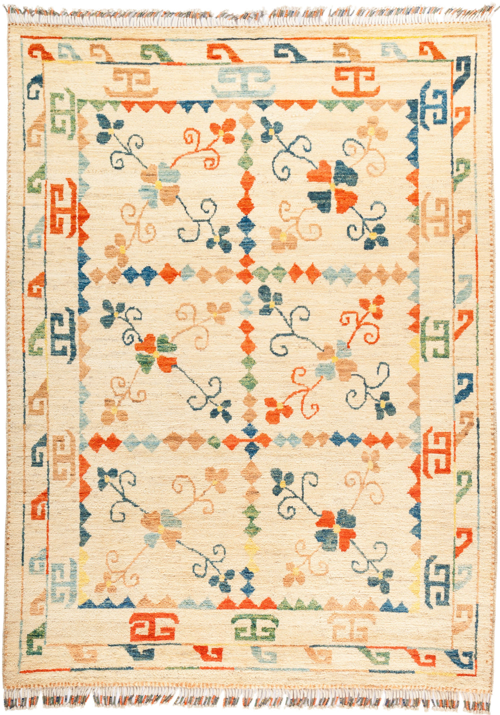 "Tullu, 6x9 Multi Wool Area Rug - 6' 4"" x 8' 9"""