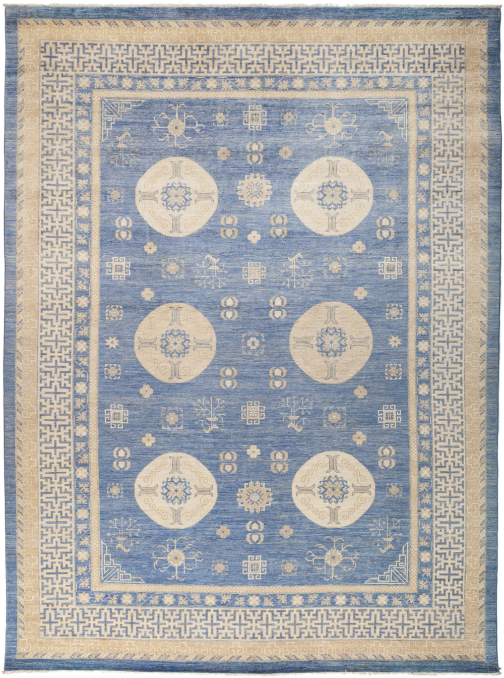 "Khotan, 10x14 Blue Wool Area Rug - 9' 10"" x 13' 2"""
