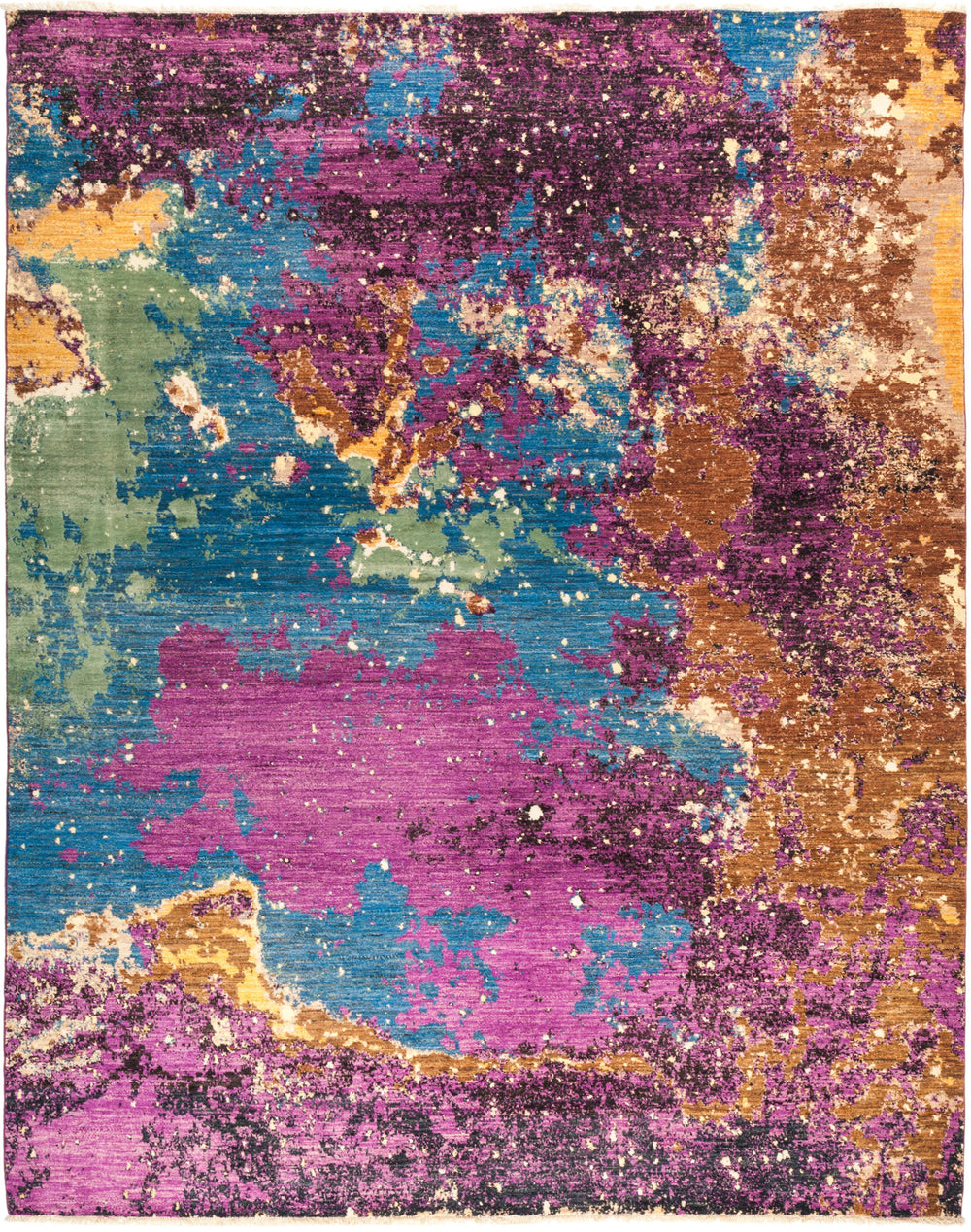 "Eclectic, 8x10 Purple Wool Area Rug - 8' 1"" x 10' 2"""