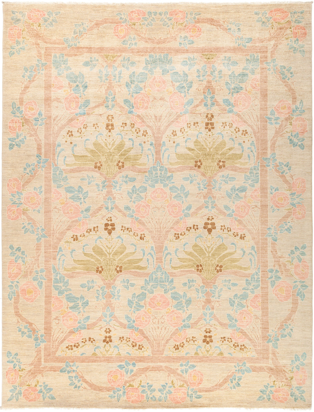 "Arts & Crafts, 9x12 Beige Wool Area Rug - 8' 10"" x 11' 7"""