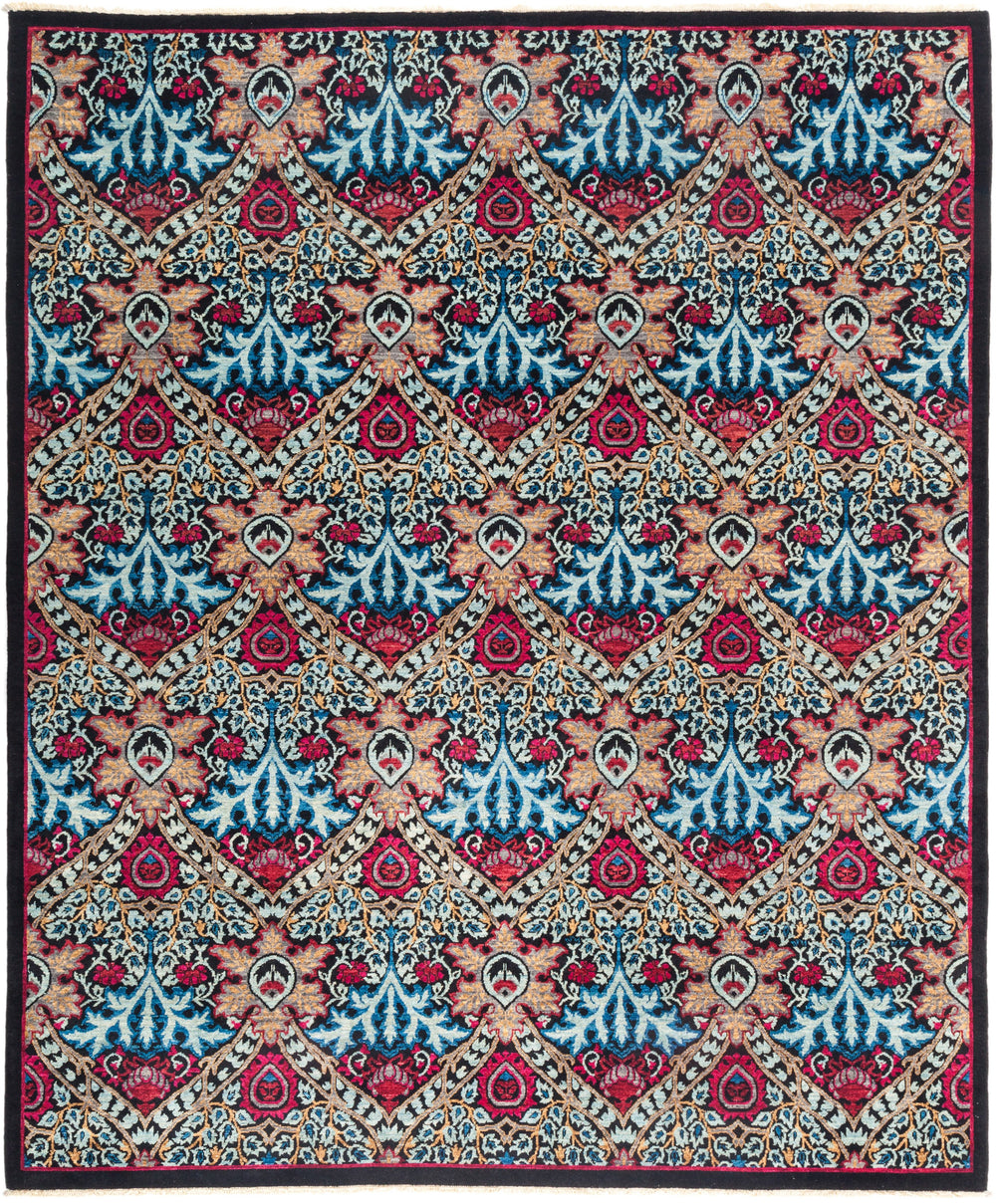 "Eclectic, 8x10 Purple Wool Area Rug - 8' 2"" x 9' 10"""