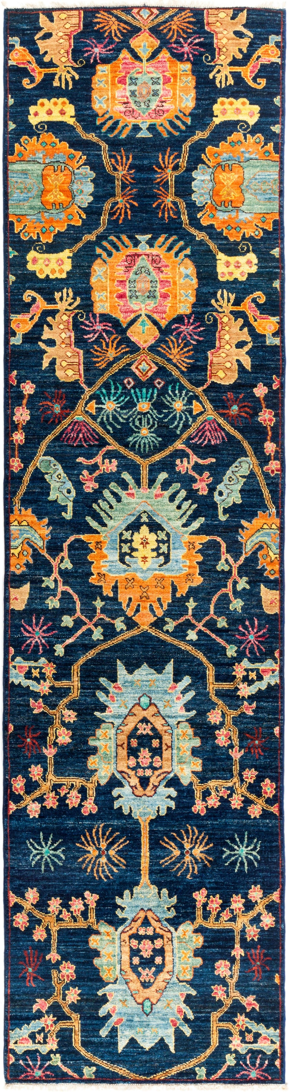 "Eclectic, Blue Wool Runner Rug - 2' 7"" x 9' 10"""