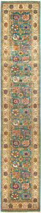 "Eclectic, Green Wool Runner Rug - 2' 8"" x 13' 10"""