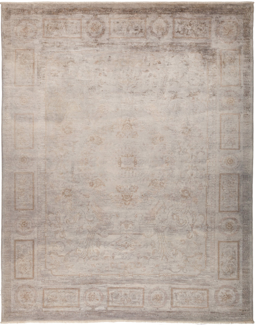 "Vibrance, 8x10 Gray Wool Area Rug - 8' 1"" x 10' 1"""