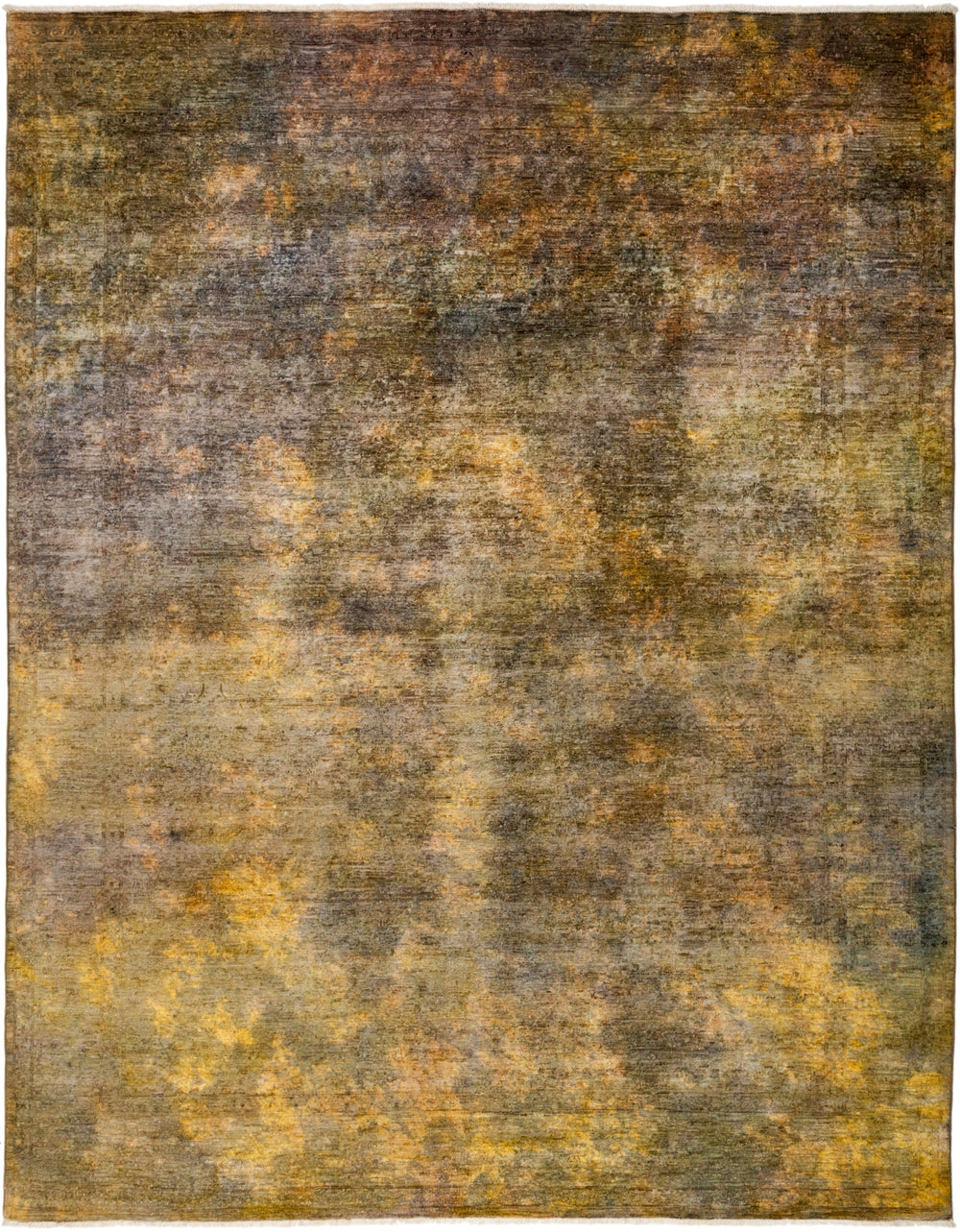 "Vibrance, 8x10 Yellow Wool Area Rug - 7' 10"" x 9' 10"""