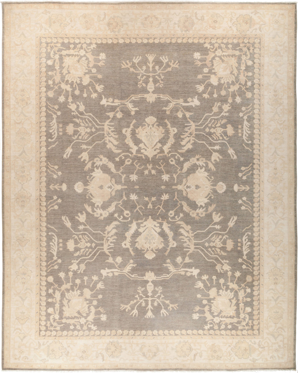 "Oushak, 12x15 Gray Wool Area Rug - 11' 10"" x 14' 7"""