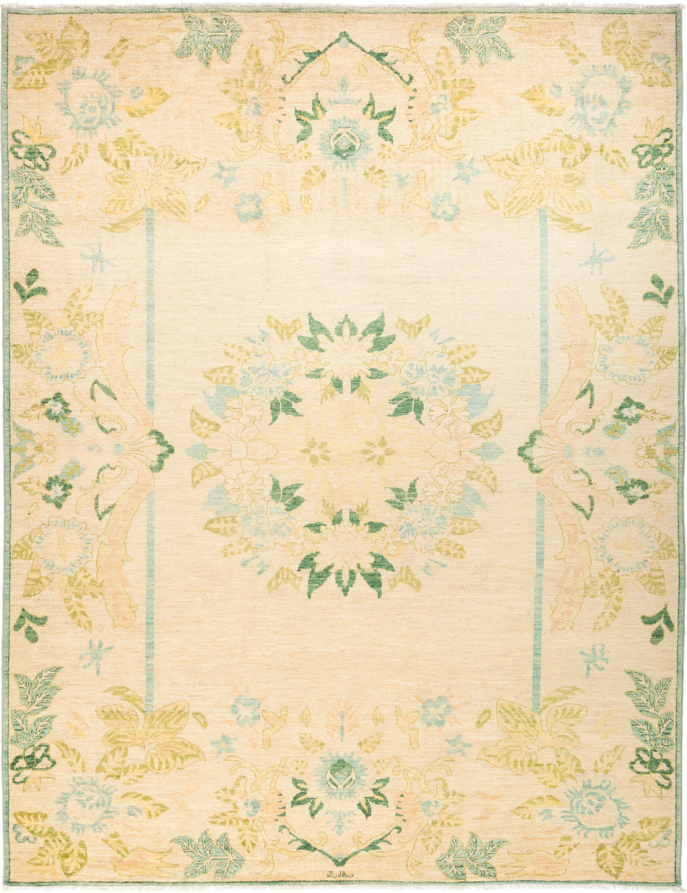 "Oushak, 8x10 Yellow Wool Area Rug - 8' 3"" x 10' 6"""