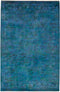 "Vibrance, 6x9 Blue Wool Area Rug - 6' 0"" x 8' 10"""