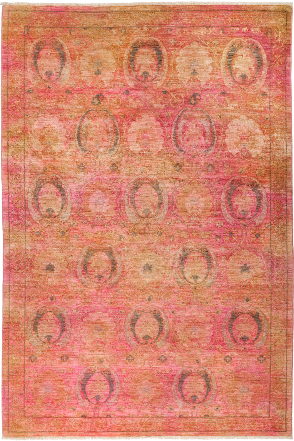 "Vibrance, 6x9 Pink Wool Area Rug - 6' 2"" x 8' 10"""