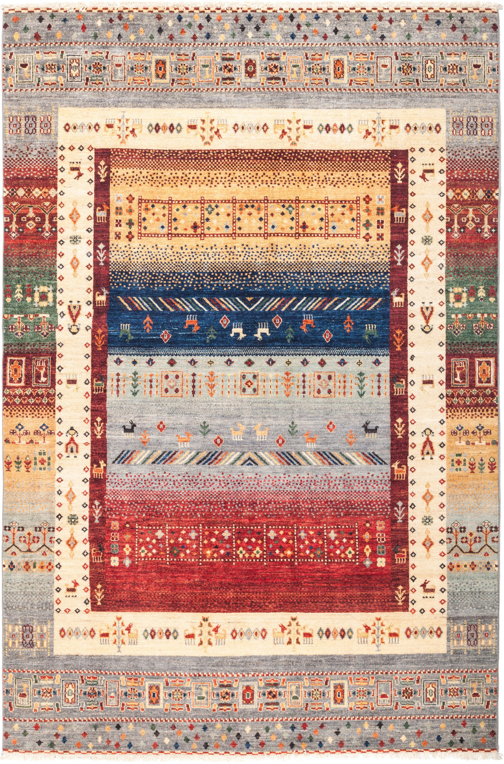"Tribal, 5x8 Multi Wool Area Rug - 5' 9"" x 8' 0"""