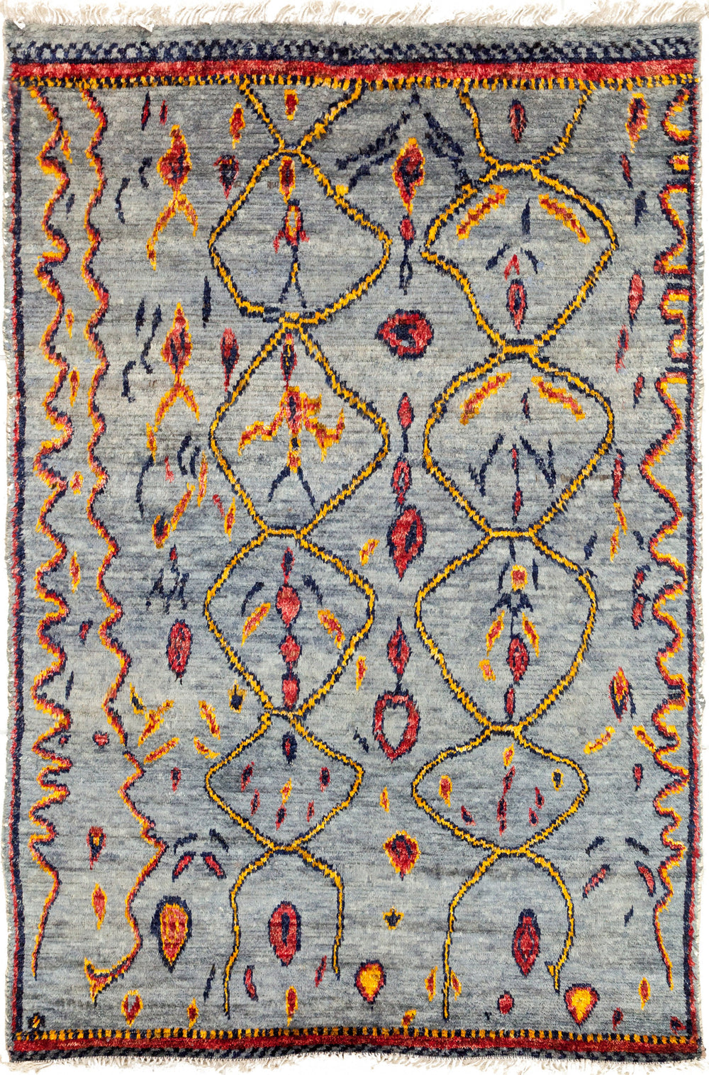 "Tullu, 6x9 Blue Wool Area Rug - 5' 10"" x 8' 5"""