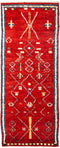 "Tullu, Red Wool Runner Rug - 4' 1"" x 10' 1"""