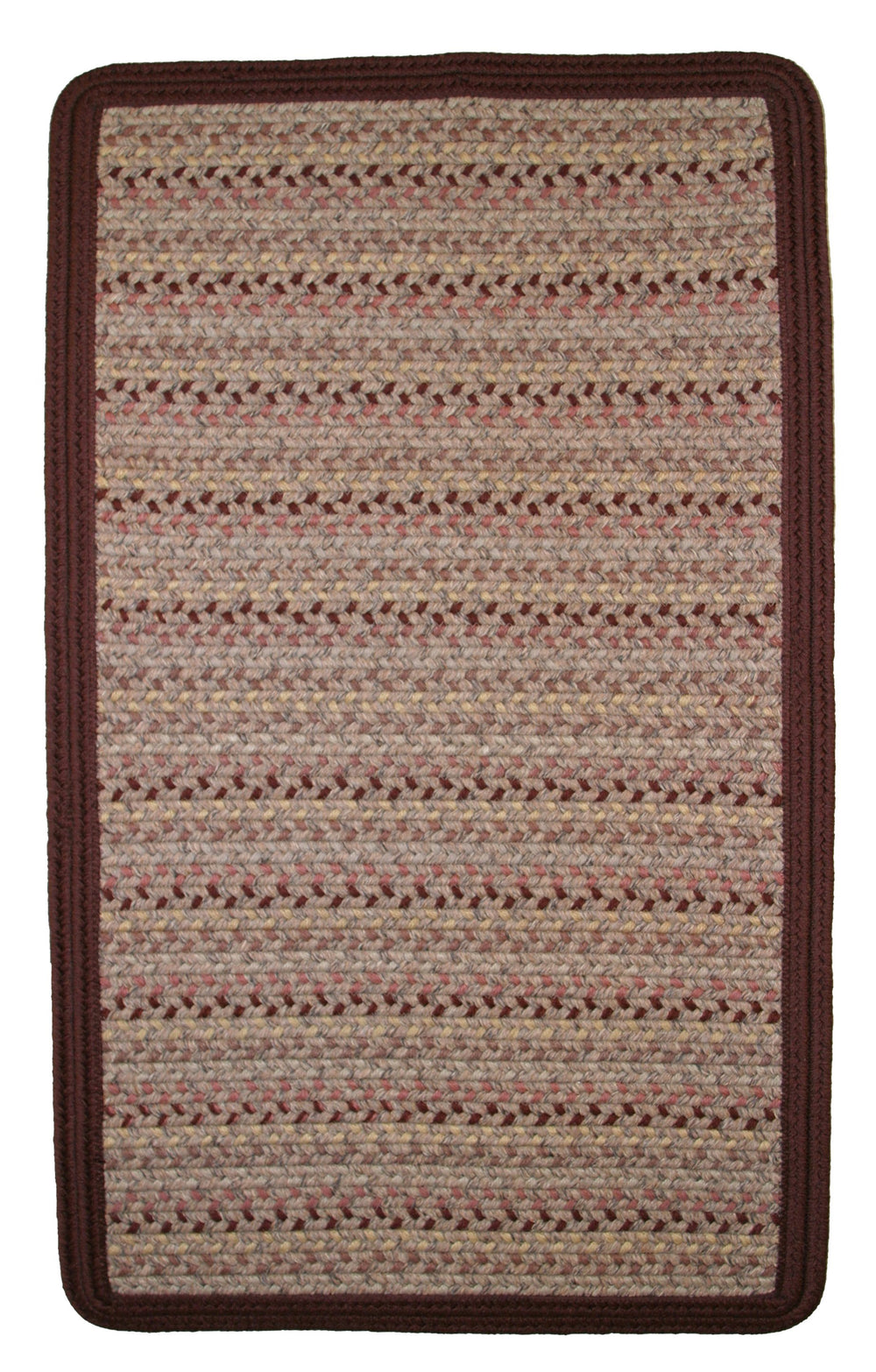 Thorndike Mills Pioneer Valley II Buckskin w/Burgundy Solids Area Rug