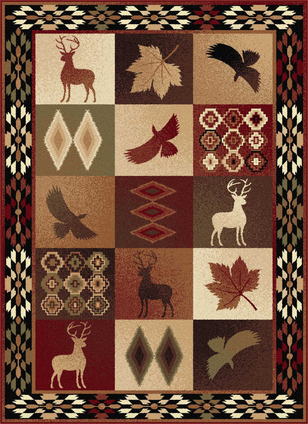 Tayse Nature Diamond Deer Area Rug