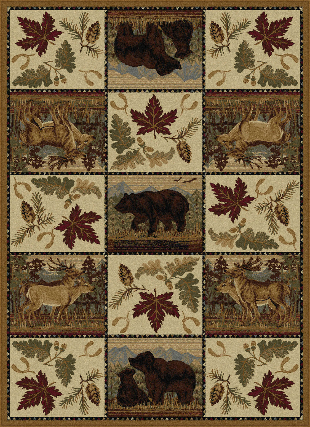 Tayse Nature Portrait Wildlife Area Rug