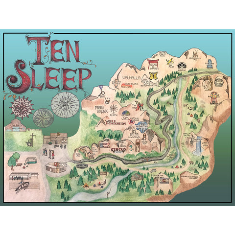Ten Sleep, WY Illustrated Climbing Map Print