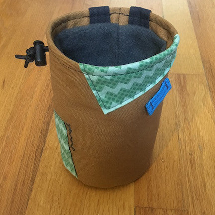 Chalk bag with green zig zag