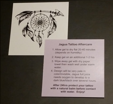 Jagua tattoo aftercare cards for customers - Nature's Body Art