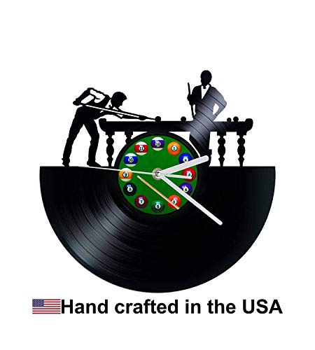 Vinyl Clock, Billiards, Pool Players, Wall Clock, Vinyl Record Clock