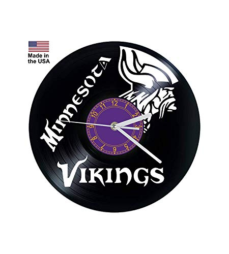 Vinyl Clock, Minnesota Vikings, NFL, Football, Wall clock, Vinyl Record Clock