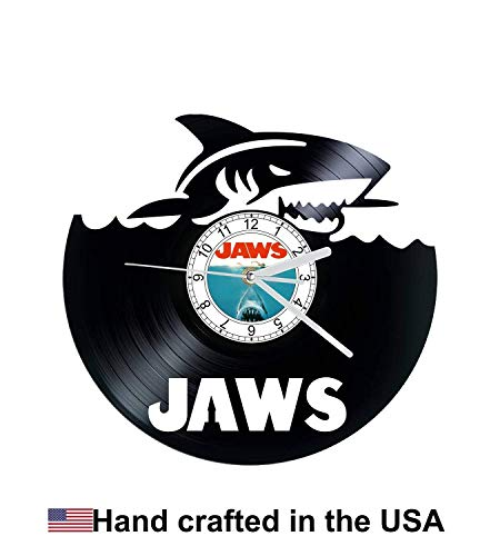Vinyl Clock, Jaws, Shark, Sharks, Wall clock, vinyl record clock
