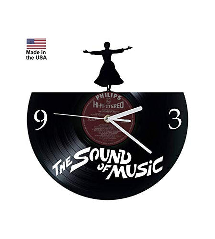 Vinyl Clock, Sound of Music, Rodgers and Hammerstein, Broadway, Wall clock, vinyl record clock