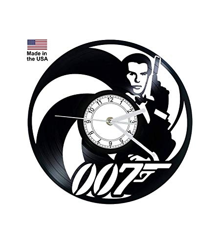 Vinyl Clock, 007, Timothy Dalton, James Bond, Wall clock, vinyl record clock