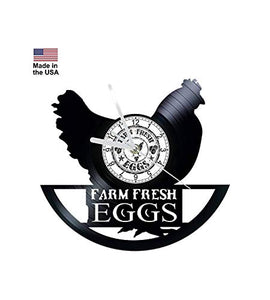 Vinyl Clock, hens, eggs, farm, Wall clock, vinyl record clock