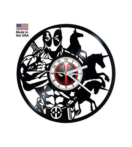 Vinyl Clock, Deadpool, Marvel, Wall clock, vinyl record clock